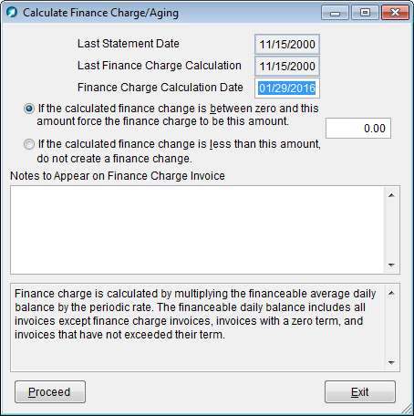 calculate finance charge aging window