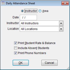 daily attendance sheet window